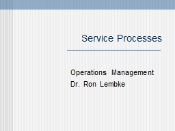 Service Processes Operations Management