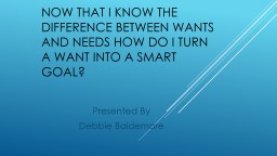 � Now that I know the difference between wants and needs how do I turn a want into a smart goal?