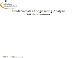 Slide  1 Fundamentals of Engineering Analysis