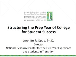 Structuring the Prep Year of College for Student Success