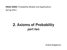 2. Axioms of Probability