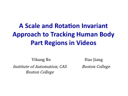A Scale and Rotation Invariant Approach to Tracking Human Body Part