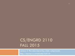 CS/ENGRD 2110 Fall 2015 Lecture 4: The class hierarchy; static components