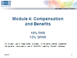 Module 4: Compensation  and Benefits