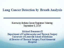 Lung Cancer Detection by Breath Analysis