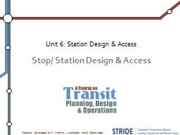 Stop/ Station Design & Access