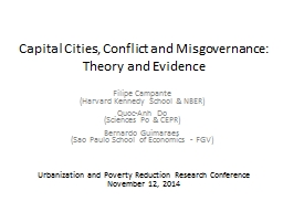 Capital Cities, Conflict and Misgovernance: