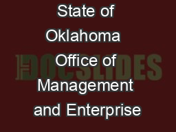 State of Oklahoma  Office of Management and Enterprise