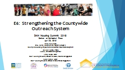 E6:   Strengthening the Countywide Outreach System