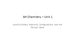 AH Chemistry – Unit 1 Atomic