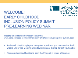 Welcome! Early Childhood Inclusion Policy Summit Pre-Learning Webinar