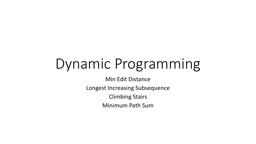 Dynamic Programming Min Edit Distance