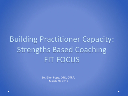 Building Practitioner Capacity: