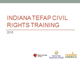 INDIANA TEFAP CIVIL RIGHTS TRAINING