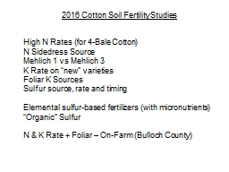 2016 Cotton Soil Fertility Studies