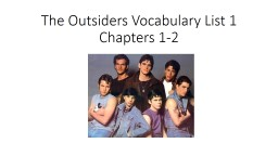 The Outsiders Vocabulary List 1