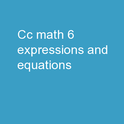 CC Math 6:   Expressions and Equations
