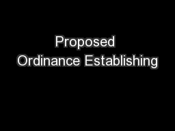 Proposed Ordinance Establishing