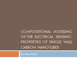 Computational Modeling of the Electrical Sensing Properties of Single Wall Carbon