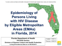 Epidemiology of Persons Living PowerPoint PPT Presentation