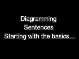 Diagramming Sentences Starting with the basics…