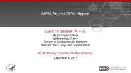 MESA Project Office Report