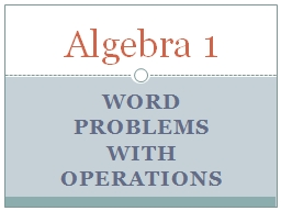 Word Problems with Operations