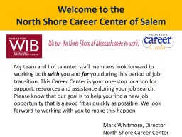 Welcome to the  North Shore Career Center of Salem