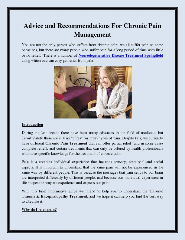 Advice and Recommendations For Chronic Pain Management