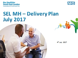 SEL MH – Delivery Plan