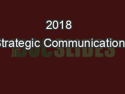 2018  Strategic Communications