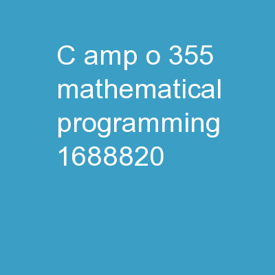 C&O 355 Mathematical Programming
