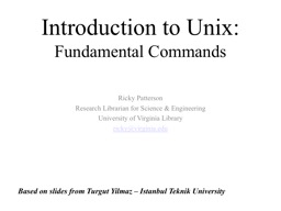 Introduction to Unix: Fundamental Commands