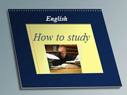English How to study Study