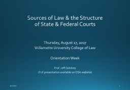Sources of Law & the Structure