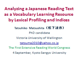 Analyzing a Japanese Reading Text as a Vocabulary Learning Resource by Lexical Profiling and Indice