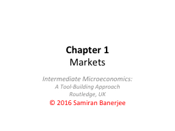 Chapter 1 Markets Intermediate Microeconomics:
