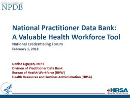 National Practitioner Data Bank:�