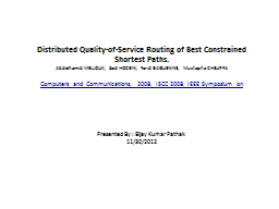 Distributed  Quality-of-Service Routing of Best Constrained Shortest Paths.