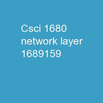 CSCI-1680 Network Layer:
