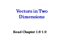 Vectors  in Two Dimensions