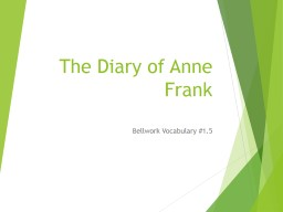 The Diary of Anne Frank Bellwork