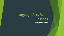 Language Arts Mini-Lessons