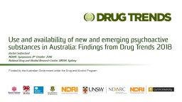 Use and availability of new and emerging psychoactive substances in Australia: Findings from Drug T