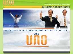BUSINESS OPPORTUNITIES INTERNATIONAL BUSINESS OPPORTUNITIES