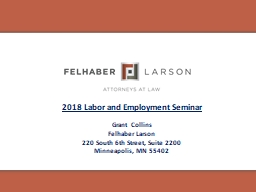 2018 Labor and Employment Seminar