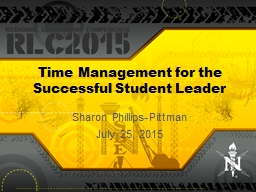 Time Management for the Successful Student Leader