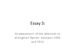 Essay 3: An assessment of the attempts to strengthen