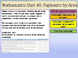 Mathematics Unit  40: Payments by Area