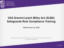 U CA Gramm-Leach Bliley Act (GLBA) Safeguards Rule Compliance Training
